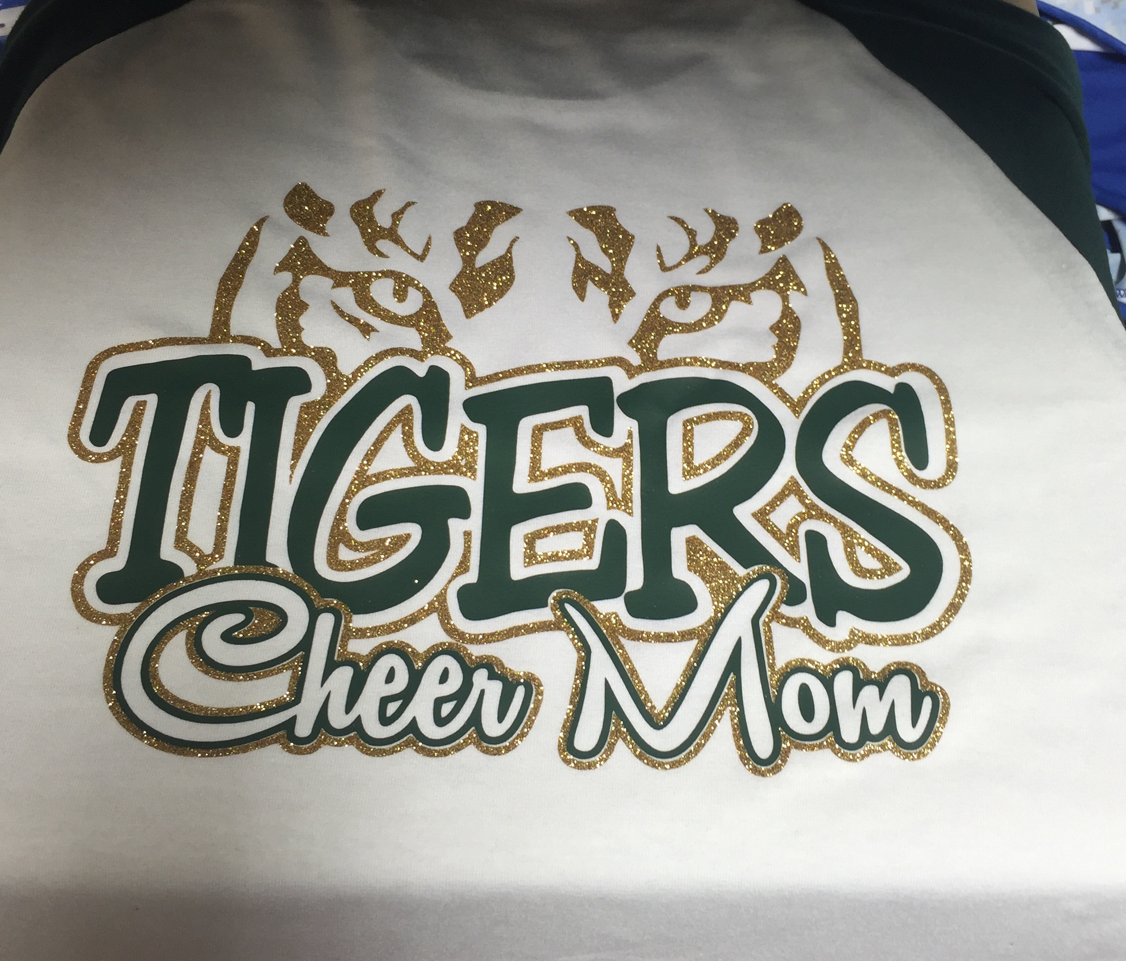 f2e259fccafb Conway Tigers (Eyes) Glitter Cheer Mom Raglan Shirt Special